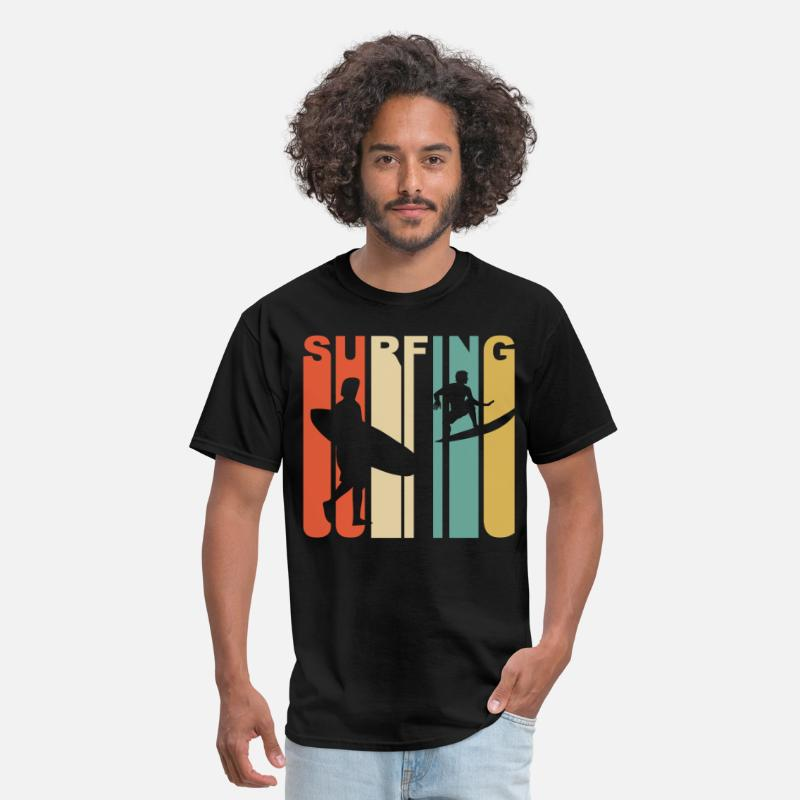 Surfing T-Shirts - Retro 1970's Style Surfer Silhouette Surfing - Men's T-Shirt black
