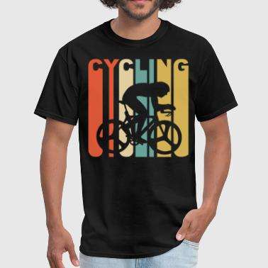 Retro 1970's Style Cyclist Silhouette Cycling - Men's T-Shirt