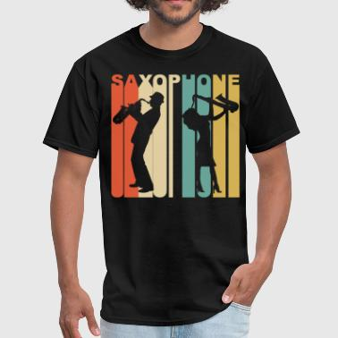 Style Retro 1970's Style Saxophone Player Silhouette - Men's T-Shirt