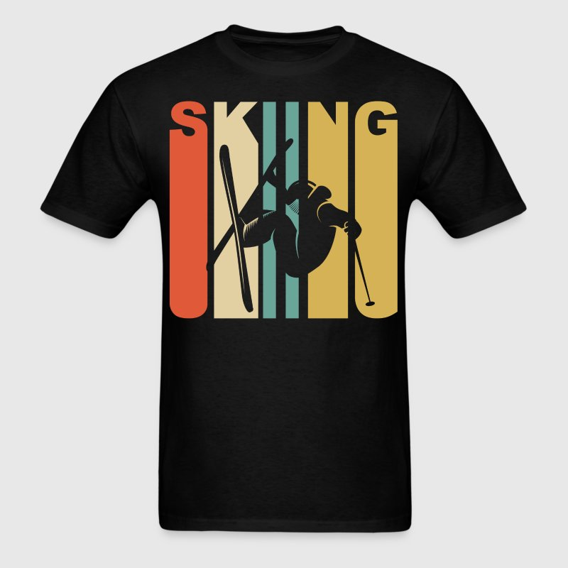1970's Style Extreme Skier Silhouette Skiing - Men's T-Shirt
