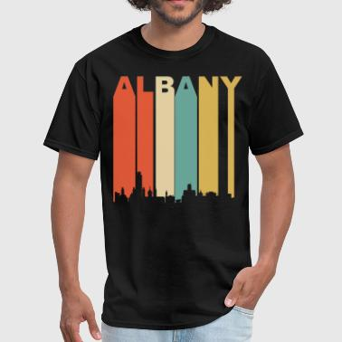 Retro Albany New York Cityscape Downtown Skyline - Men's T-Shirt