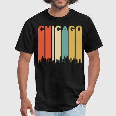 Retro Chicago Illinois Cityscape Downtown Skyline - Men's T-Shirt