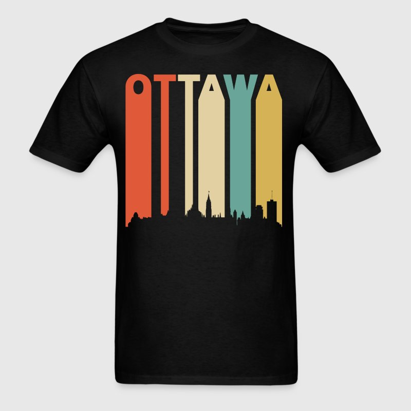 Retro Ottawa Canada Cityscape Downtown Skyline - Men's T-Shirt