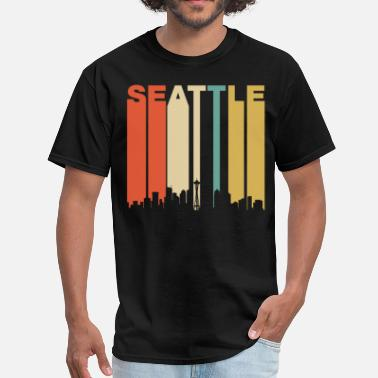 0b7324cb2e106c Seattle Retro Seattle Washington Downtown Skyline - Men  39 s T-Shirt