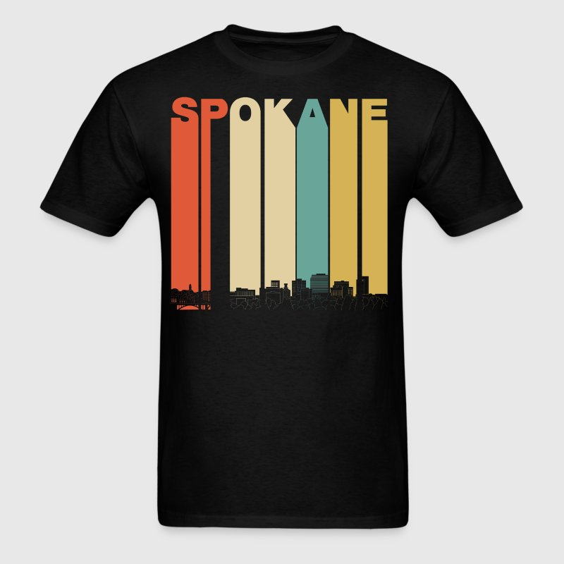 Vintage 1970's Style Spokane Washington Skyline - Men's T-Shirt