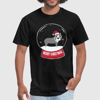 American Stafford Terrier Merry Christmas Snowball - Men's T-Shirt