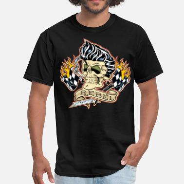 Rockabilly Rebel Tattoo Skull - Men's T-Shirt