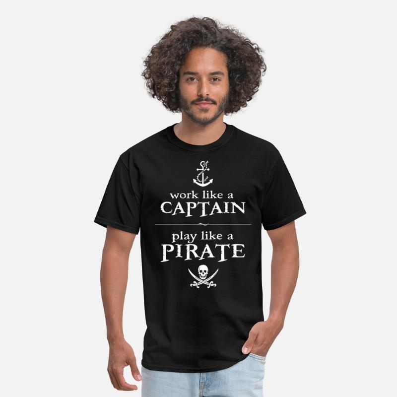 Caribbean T-Shirts - Work Like a Captain, Play Like a Pirate - Men's T-Shirt black