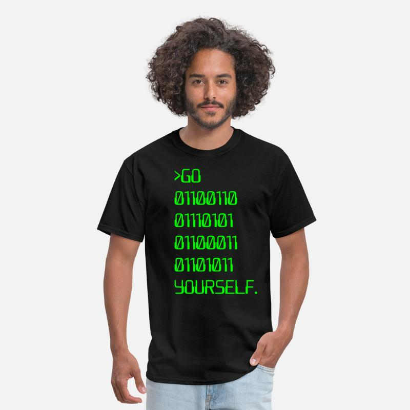 Science T-Shirts - Go ( Binary Curse Word ) Yourself - Men's T-Shirt black