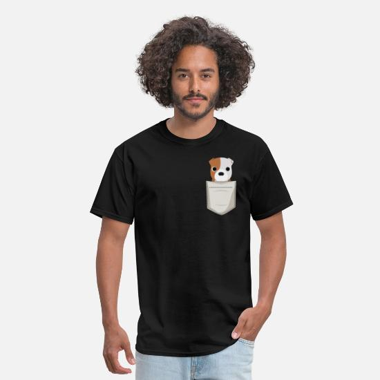 Pocket T-Shirts - Bulldog Puppy In a Pocket - Men's T-Shirt black