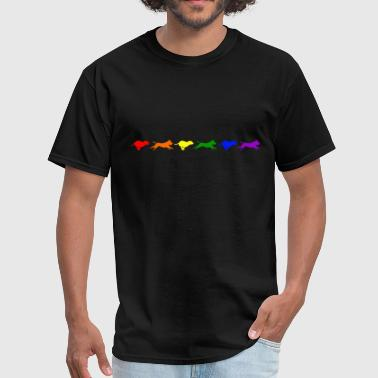 Staffy in Motion- Rainbow - Men's T-Shirt