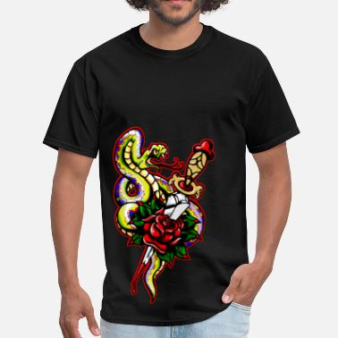 Rose Snake Snake Dagger Rose Tattoo - Men's T-Shirt