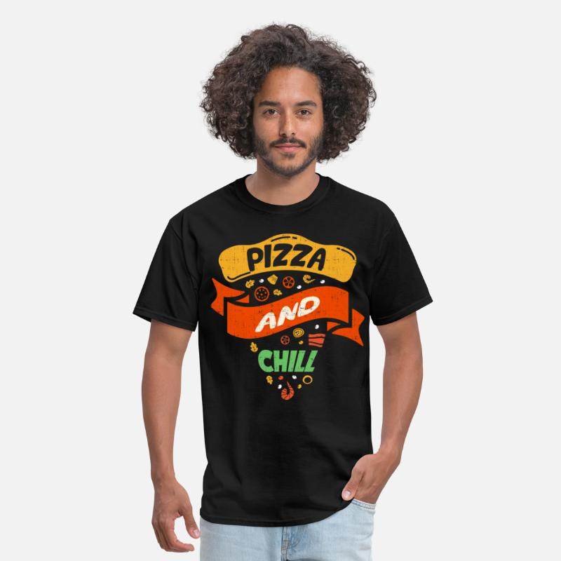 Pizza T-Shirts - Pizza And Chill - Men's T-Shirt black