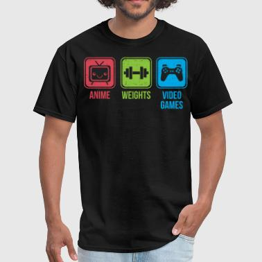 Anime, Weights, and Video Games (icons) - Men's T-Shirt