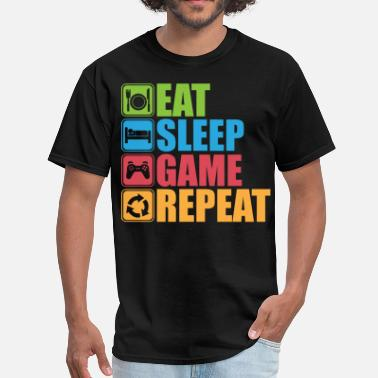 Sleeping Pictogram Eat, Sleep, Game, Repeat - Icon Pictogram - Men's T-Shirt