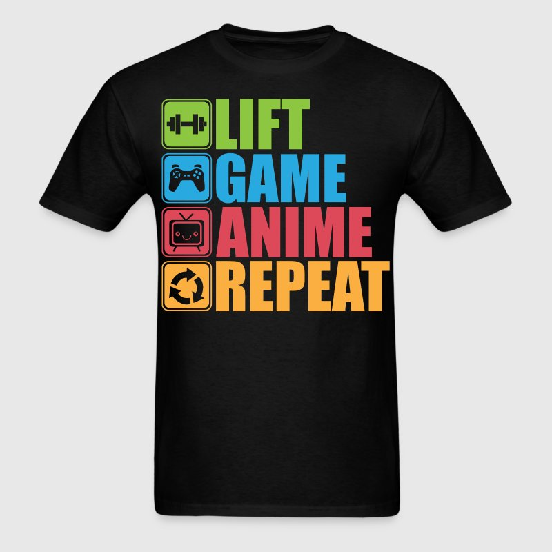 Lift, Game, Anime, Repeat - Icon Pictogram - Men's T-Shirt