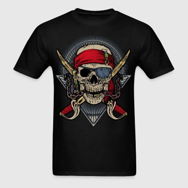 Skull pirate double saber red halloween rahmenlos - Men's T-Shirt