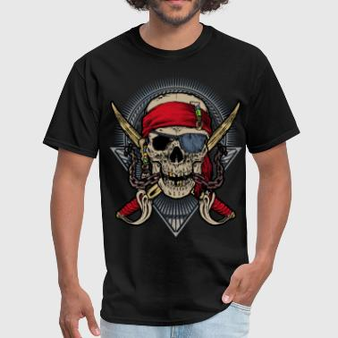 Best Pirate Skull pirate double saber red halloween rahmenlos - Men's T-Shirt