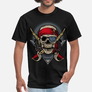 Double Skull Skull pirate double saber red halloween rahmenlos - Men's T-Shirt