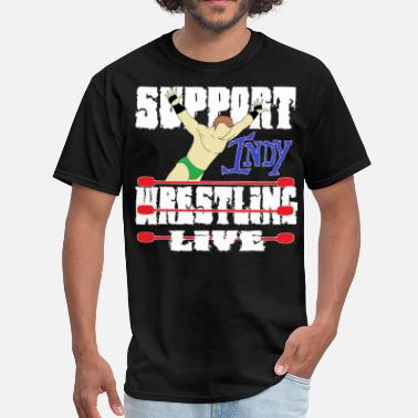 Indy Support-indy-wrestling-live-clear-white.png - Men's T-Shirt
