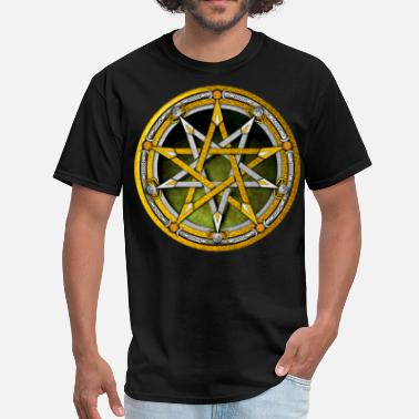 Wicca Gold and Silver Pentacle - Men's T-Shirt