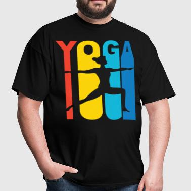 Warrior Two Yoga Pose Silhouette Retro T-Shirt - Men's T-Shirt
