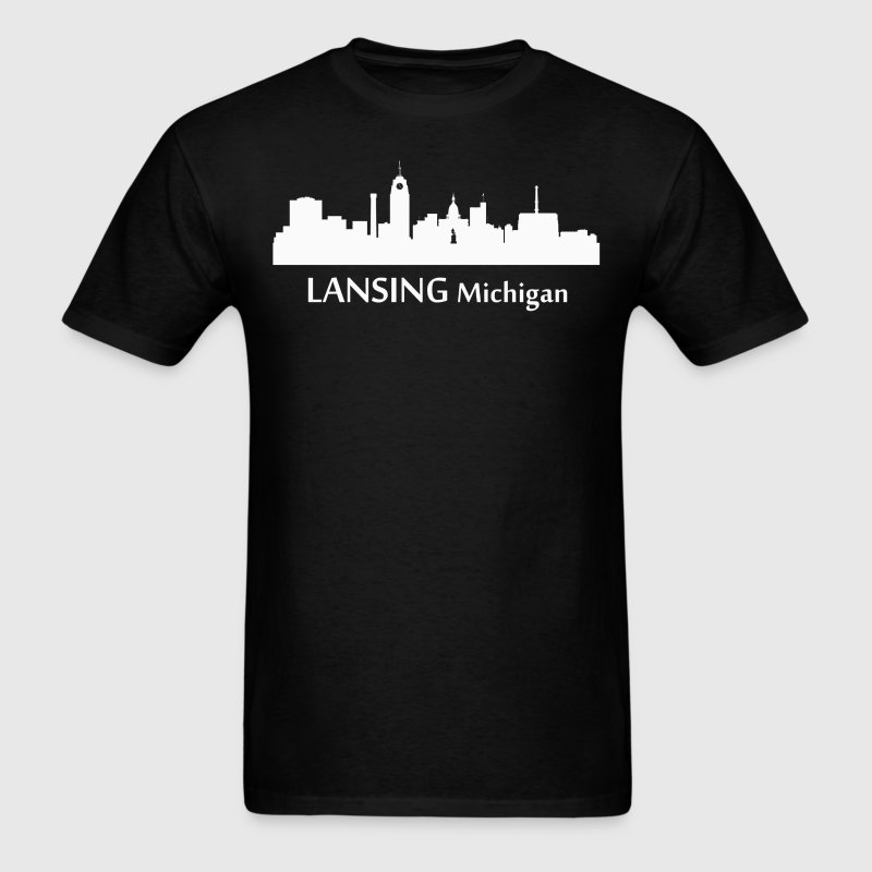 Lansing Michigan Downtown Skyline Silhouette - Men's T-Shirt