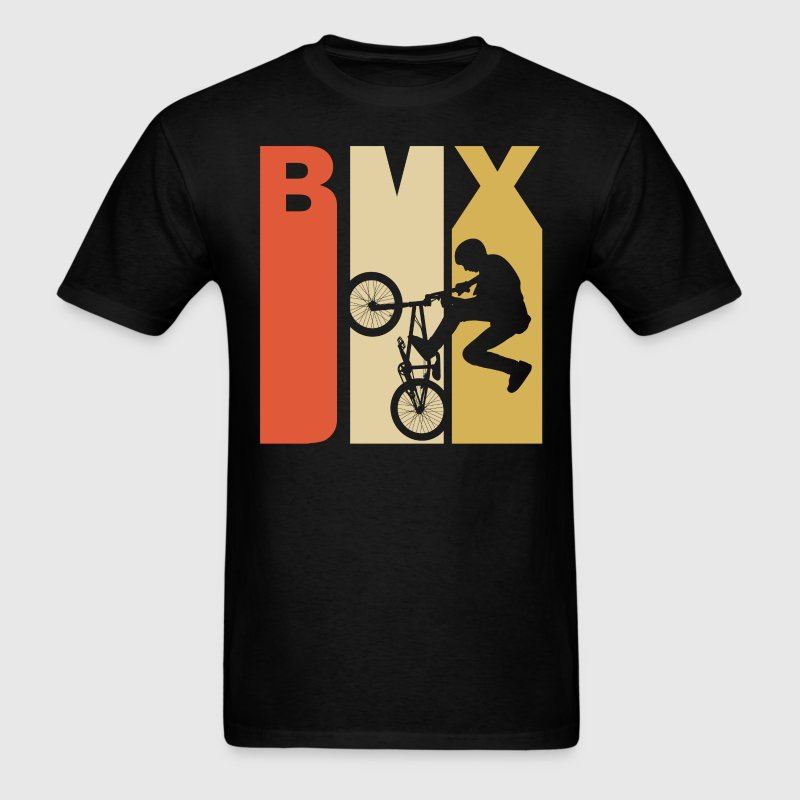 Retro 1970's Style BMX Silhouette Extreme Sports - Men's T-Shirt