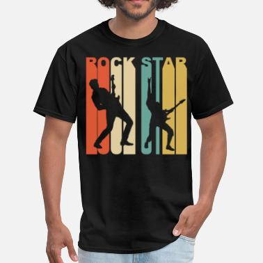 Silhouette Rock Music Retro 1970's Style Rock Star Silhouette Music - Men's T-Shirt