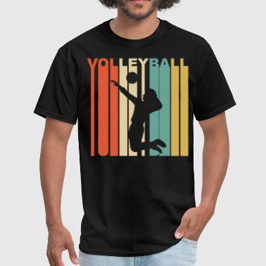 Retro 1970's Style Volleyball Player Silhouette - Men's T-Shirt