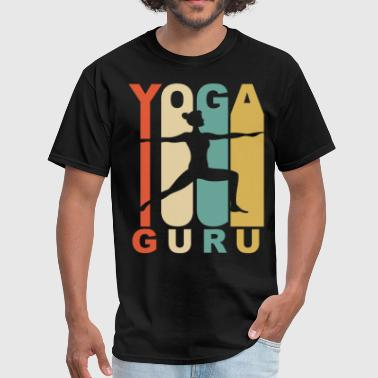 Vintage Yoga Guru Warrior Two Yoga Pose Retro - Men's T-Shirt