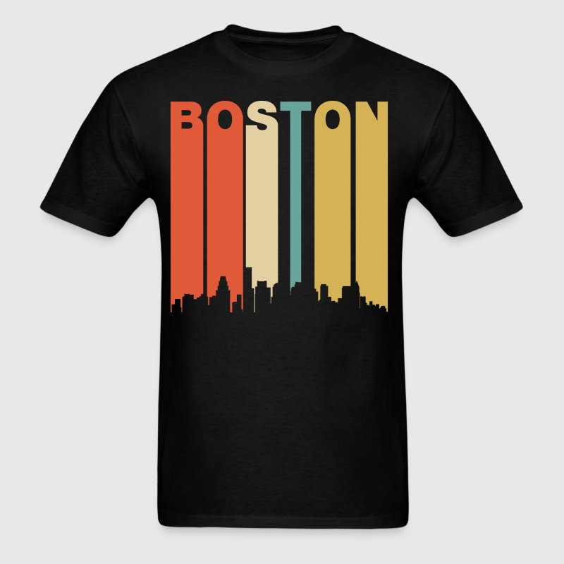 Retro Boston Massachusetts Downtown Skyline - Men's T-Shirt