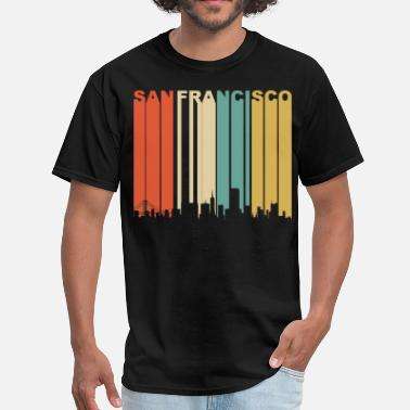San Francisco Retro San Francisco California Downtown Skyline - Men's T-Shirt
