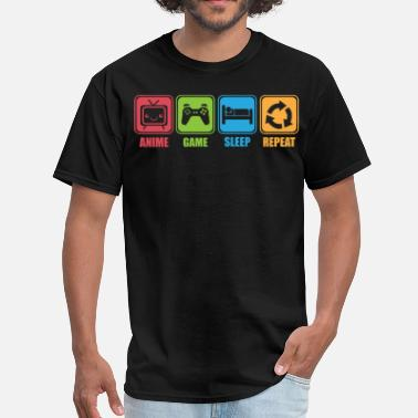 Sleeping Pictogram Anime, Game, Sleep, Repeat - Icon Pictogram - Men's T-Shirt