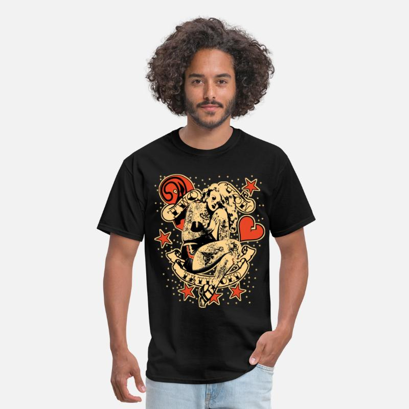 Vintage T-Shirts - Screwed & tattooed Pin Up Zombie - Men's T-Shirt black