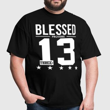 Blessed Proverbs 3:13 Bible Verse Scripture  - Men's T-Shirt