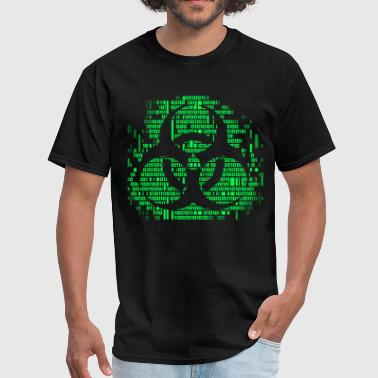 Cyberpunk Symbol Biohazard Binary Green - Men's T-Shirt