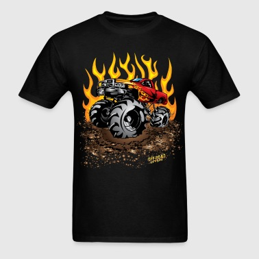 Mega Mud Truck Red Flames - Men's T-Shirt