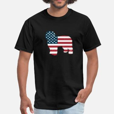 40d2204657e Old Usa Flag Old English Sheepdog USA American Flag Patriotic - Men  39 s