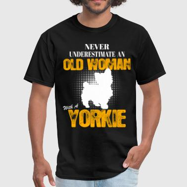 Old Woman With A Yorkie - Men's T-Shirt
