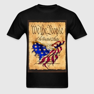 We The People American Eagle Flage - American Flag Flag overlaying the Preamble to the Constitutiion - Men's T-Shirt