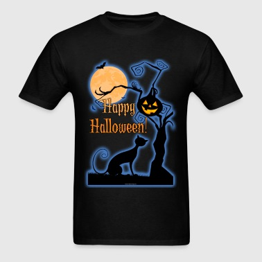 Happy Halloween Cat Moon - Men's T-Shirt