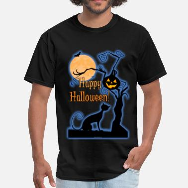Happy Moon Happy Halloween Cat Moon - Men's T-Shirt
