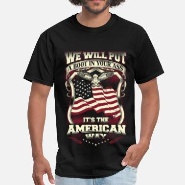 Boobs American Flag American - We will put a boot in your ass - Men's T-Shirt