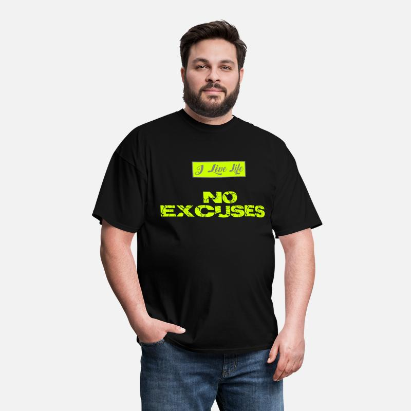 Sporty T-Shirts - I Live Life NO EXCUSES Neon Fluorescent Yellow - Men's T-Shirt black