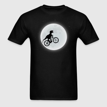 Dinosaur Riding A Bike To The Moon - Men's T-Shirt