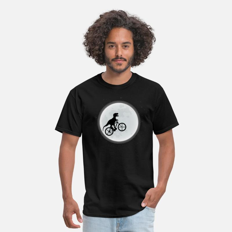 Dinosaur T-Shirts - Dinosaur Riding A Bike To The Moon - Men's T-Shirt black