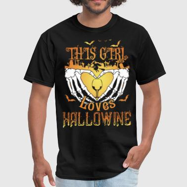 Mickey Praying Hands this girl loves hallowine wine bird strong for men - Men's T-Shirt