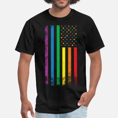 Gay Pride Rainbow American Flag - Men's T-Shirt