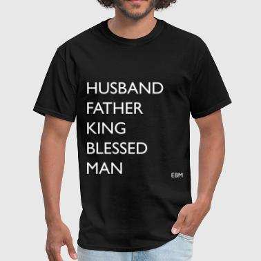 Husband Father King Blessed Black Man  - Men's T-Shirt